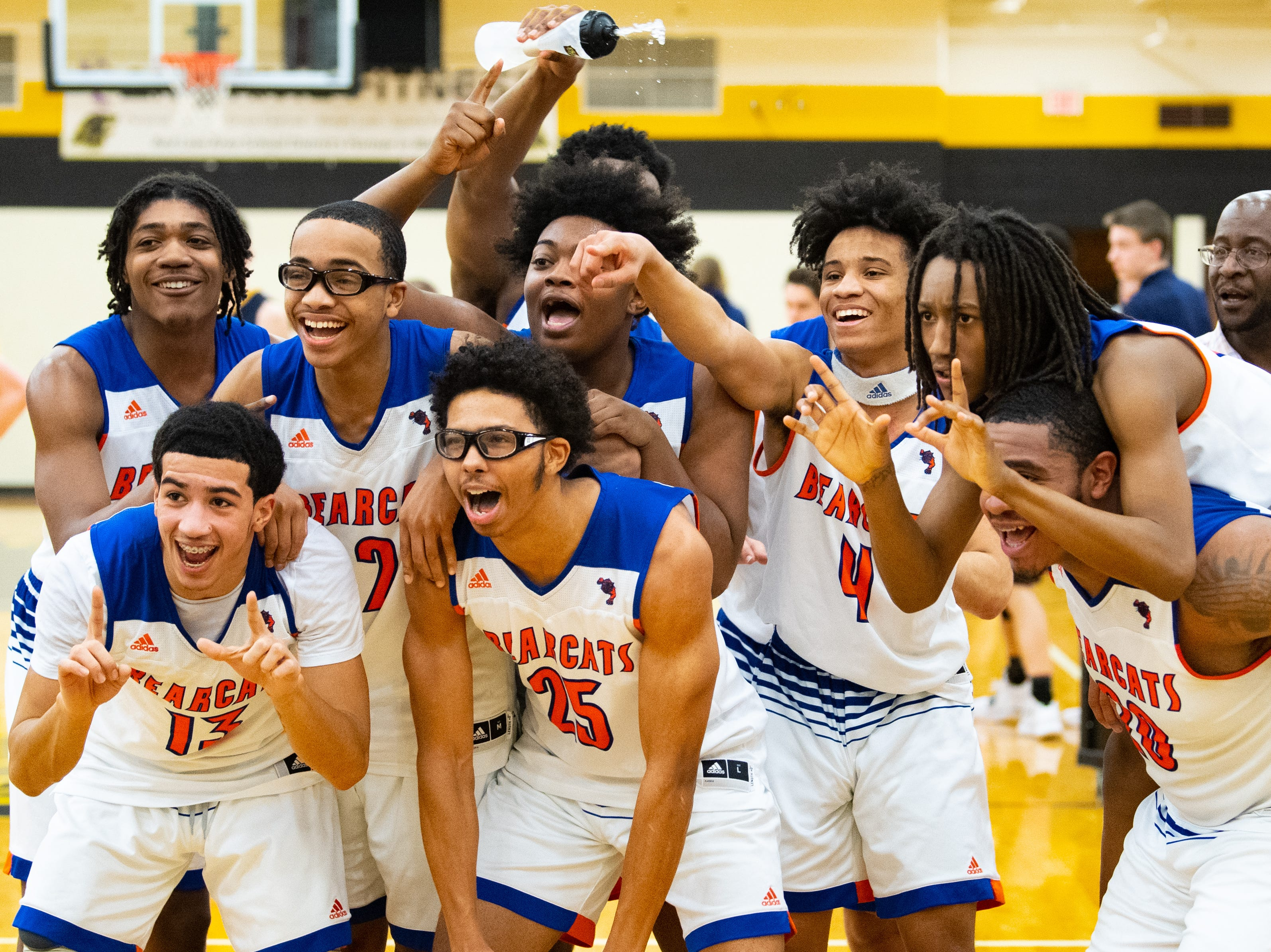 York High celebrates after defeating Littlestown in the YAIAA boys' basketball semifinals, Wednesday, February 13, 2019 at Red Lion Area High School. The Bearcats defeated the Thunderbolts 74 to 51.