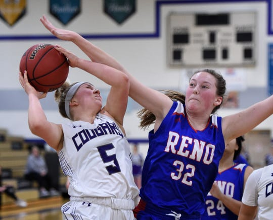 Reno's Gracen McGwire covers Spanish Spring's Megan Gower as she shoots during Tuesday's game at Spanish Springs.
