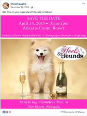 "A screenshot of a ""save the date"" post for Christi Quatro's Heels & Hounds event scheduled for April 14 posted to her Facebook page."
