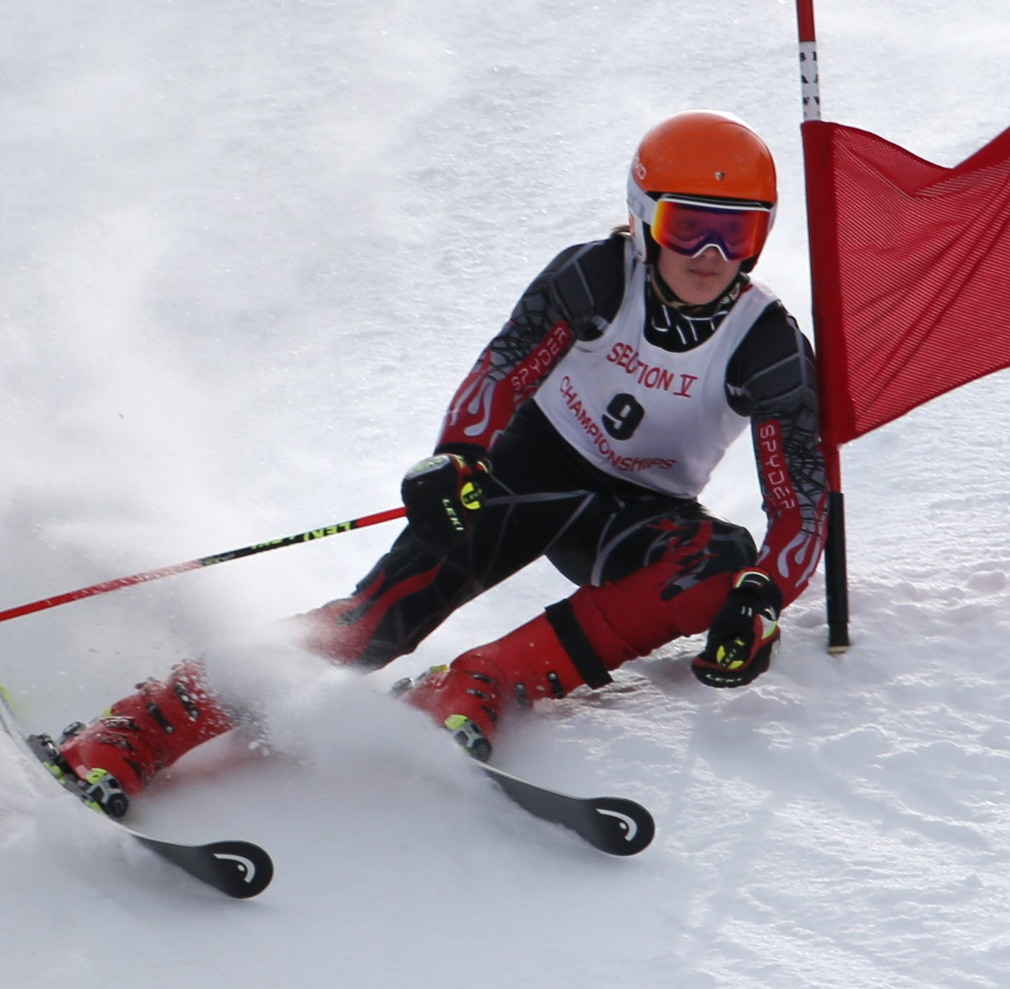 Spin Blazak of Canandaigua competes in the boys Alpine Section V Championships at Swain. He recorded the top time in the giant slalom and the second-best time in the slalom to win the combined title.