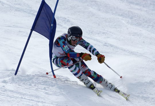TJ Swagler, East Rochester, competes in the boys Alpine Section V Championships at Swain. He posted the top combined times for Class B in both the giant slalom and slalom.