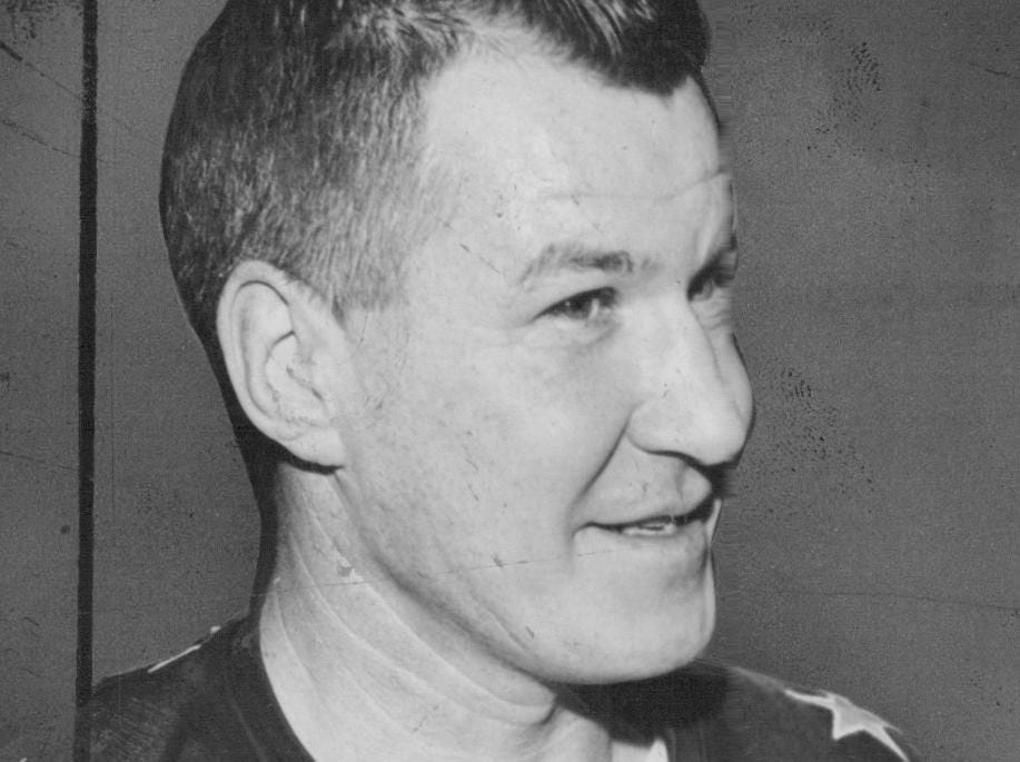 Joe Crozier played for the Rochester Americans in the 1959-60 and 1960-61 seasons before becoming coach of the team in 1963.