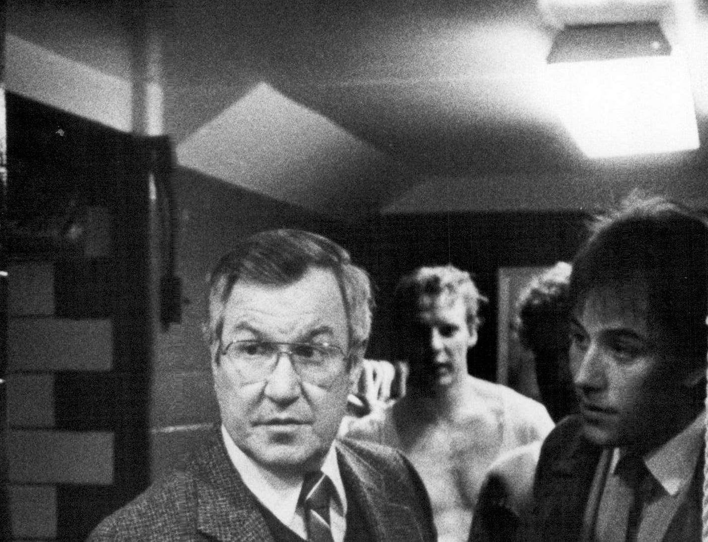 Joe Crozier stands outside the Rochester Americans' locker room after a loss to Binghamton during the 1983-84 season.