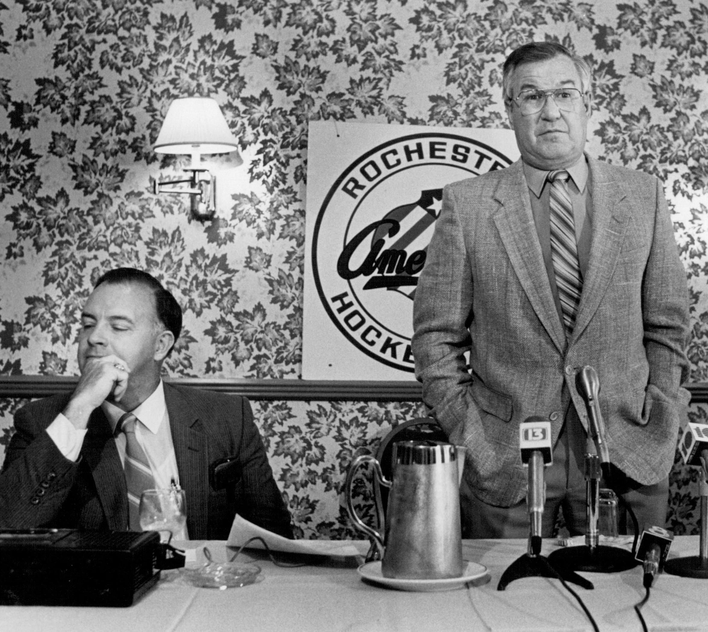 Buffalo Sabres general manager Scotty Bowman, left, with Joe Crozier on Sept. 17, 1984, the day Crozer was named the associate coach of the Sabres.