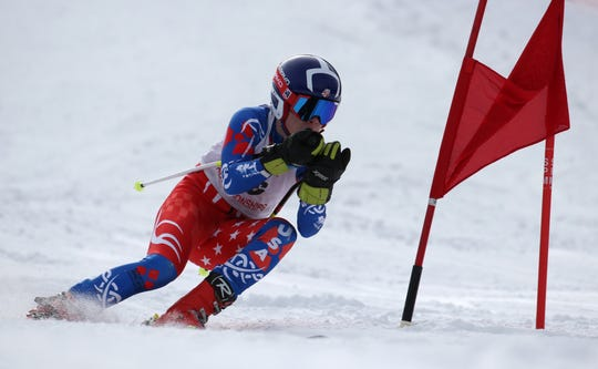Zane Graham of Pittsford competes in the boys Alpine Section V Championships at Swain. He qualified for the state team.