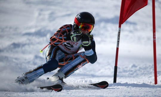 Sawyer Duserick, McQuaid, competes in the boys Alpine Section V Championships at Swain. He qualified for the state team.