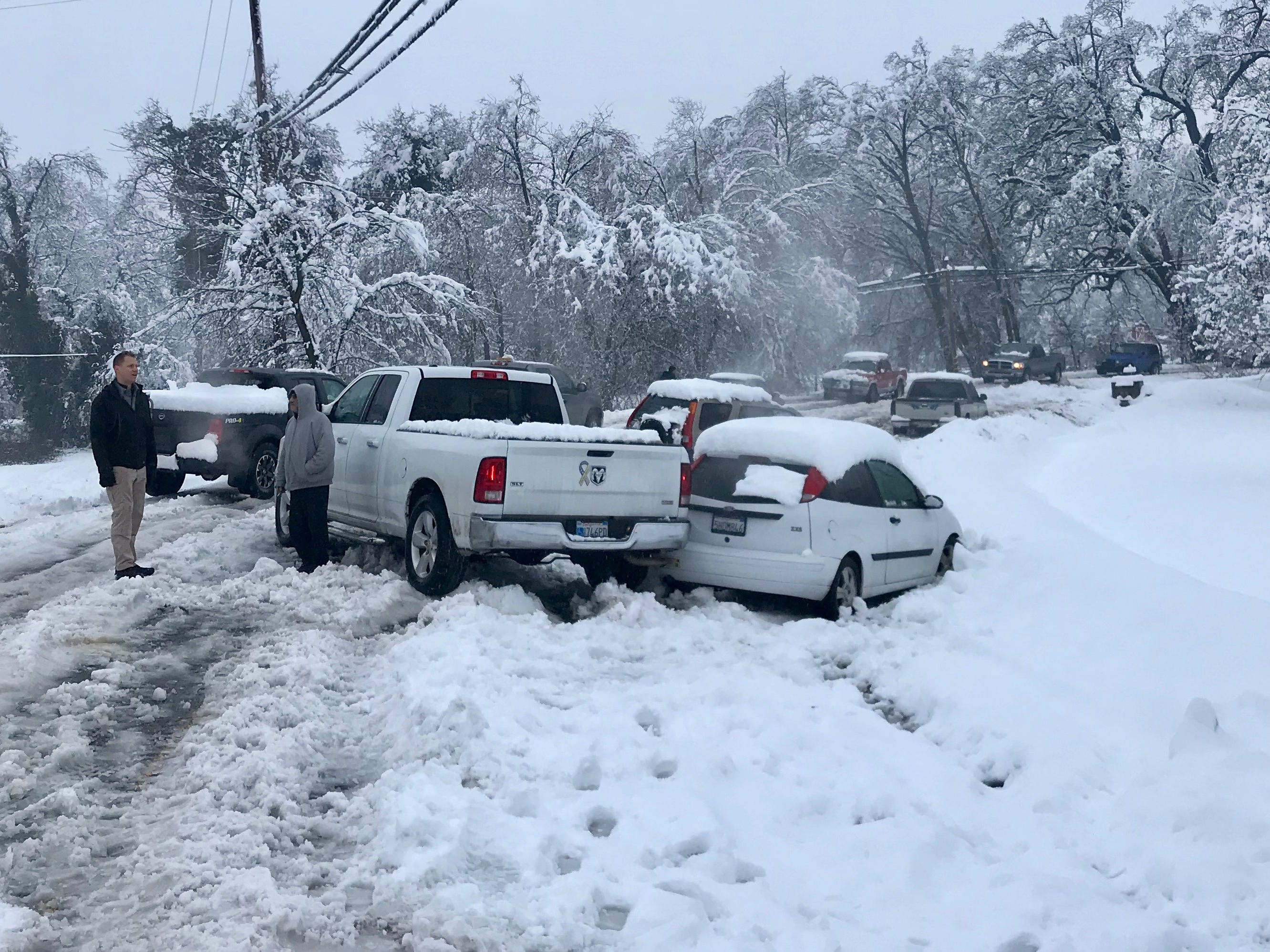 The winter storm on Wednesday, Feb. 13, 2019 caused numerous spin outs and pileups on the road, such as this one on Balls Ferry Road in south Anderson.