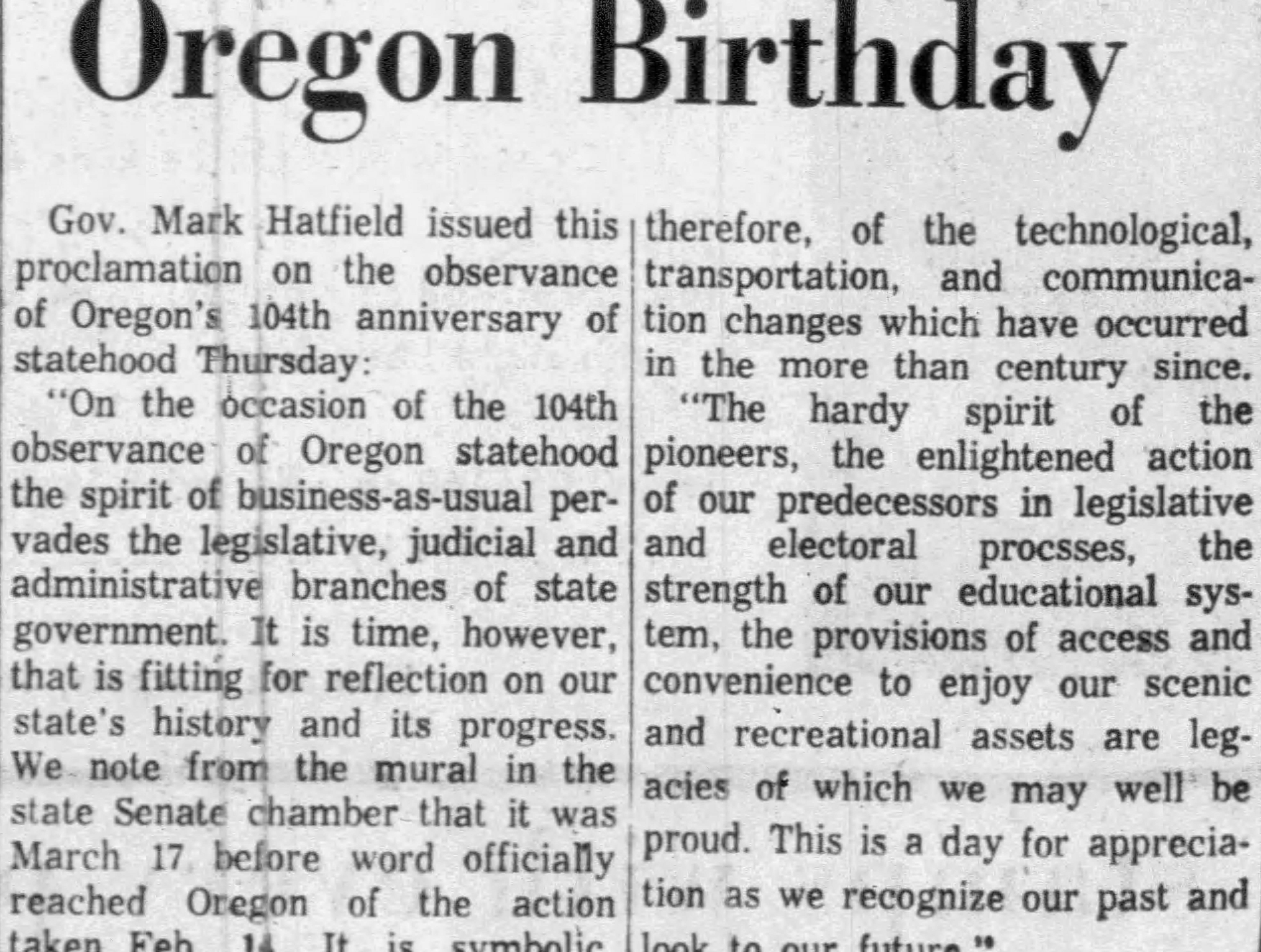 Gov. Mark Hatfield's proclamation in observation of Oregon's 104th birthday on Feb. 14, 1963.
