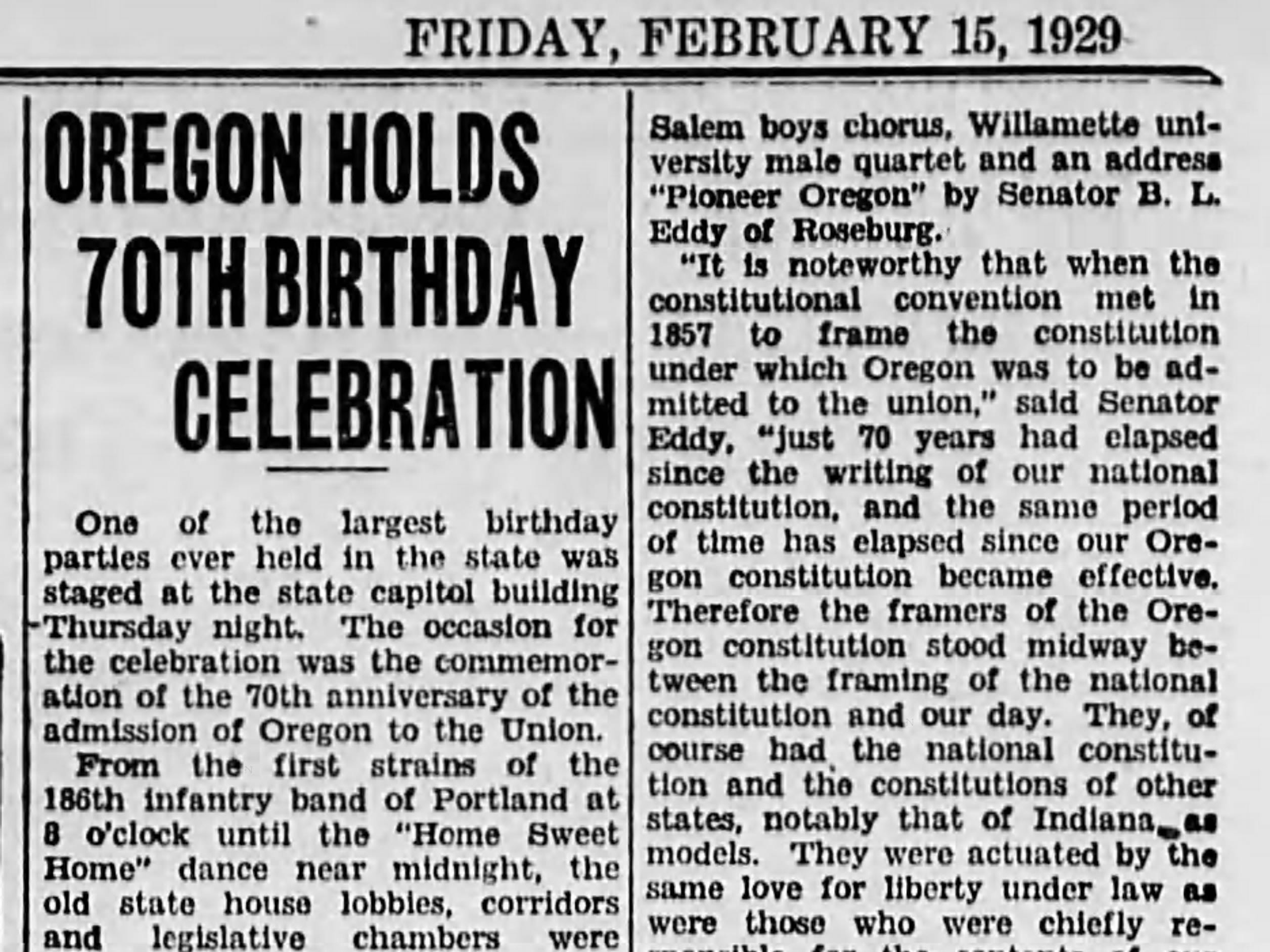 Marking 70 years of statehood in 1929.