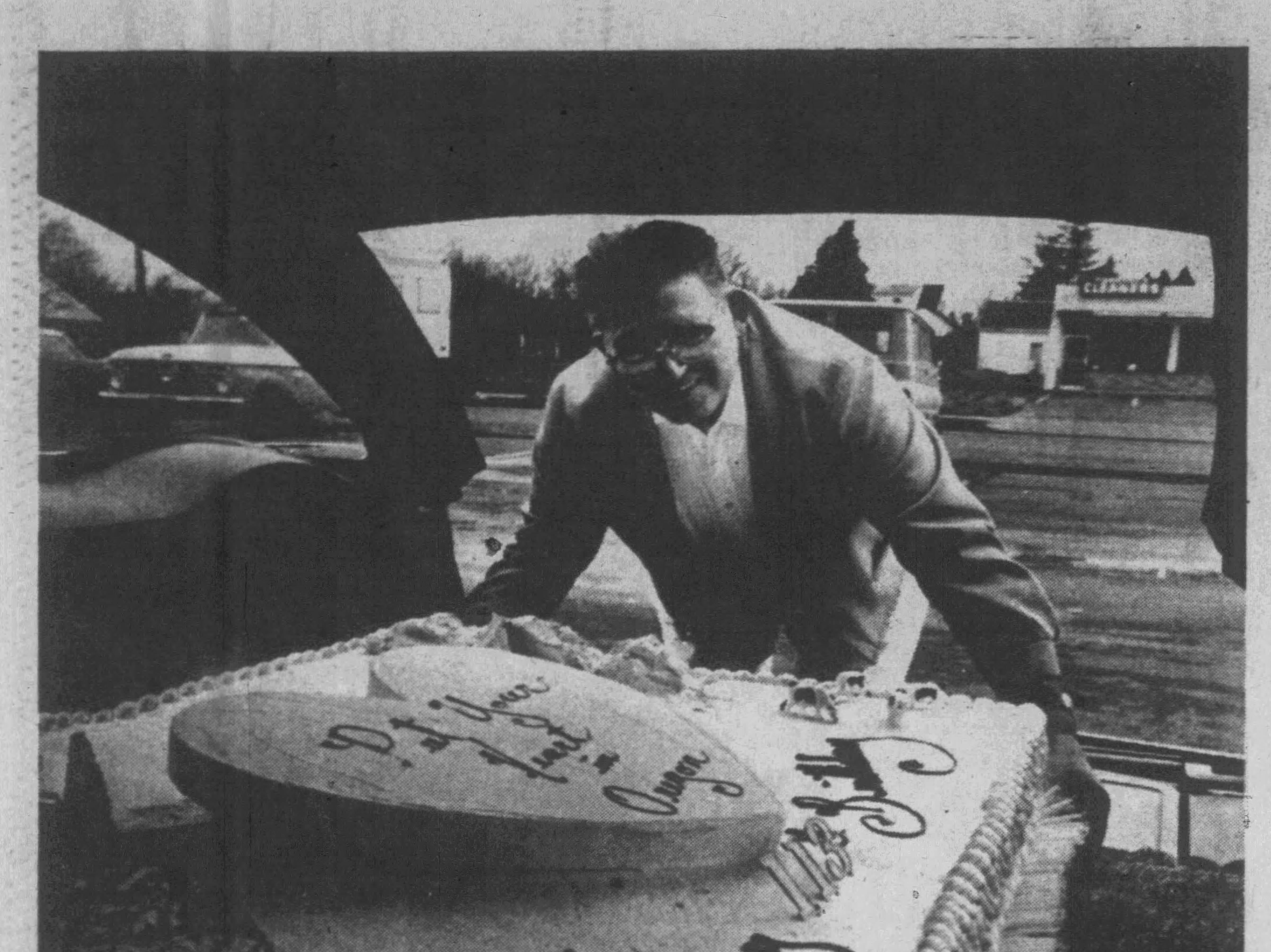 A 400-pound cake is headed to Oregon's 113th birthday celebration in 1972, according to this photograph published in the Capital Journal.