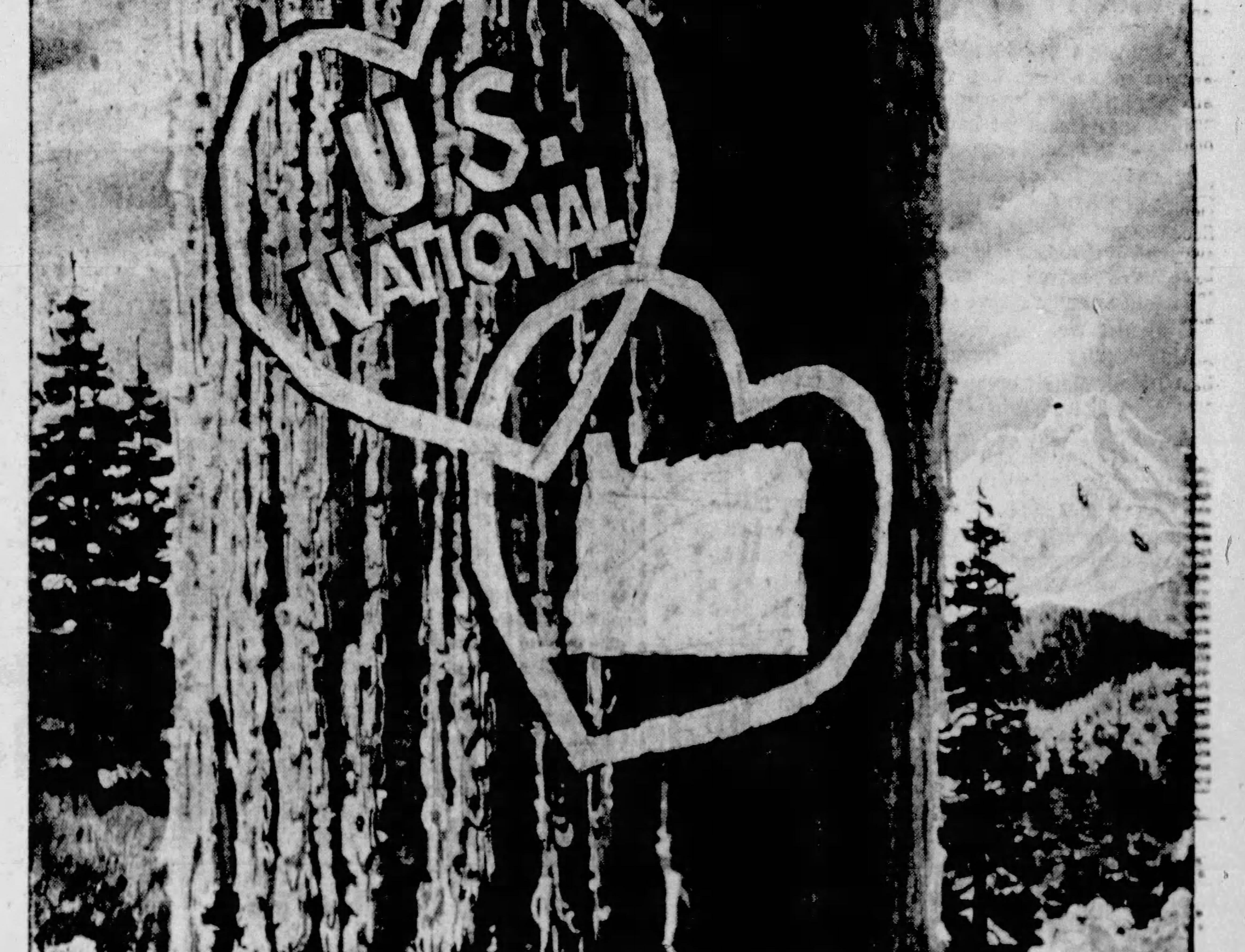 An advertisement in the Feb. 14, 1959 Capital Journal wishes Oregon a Happy Birthday as she turns 100!