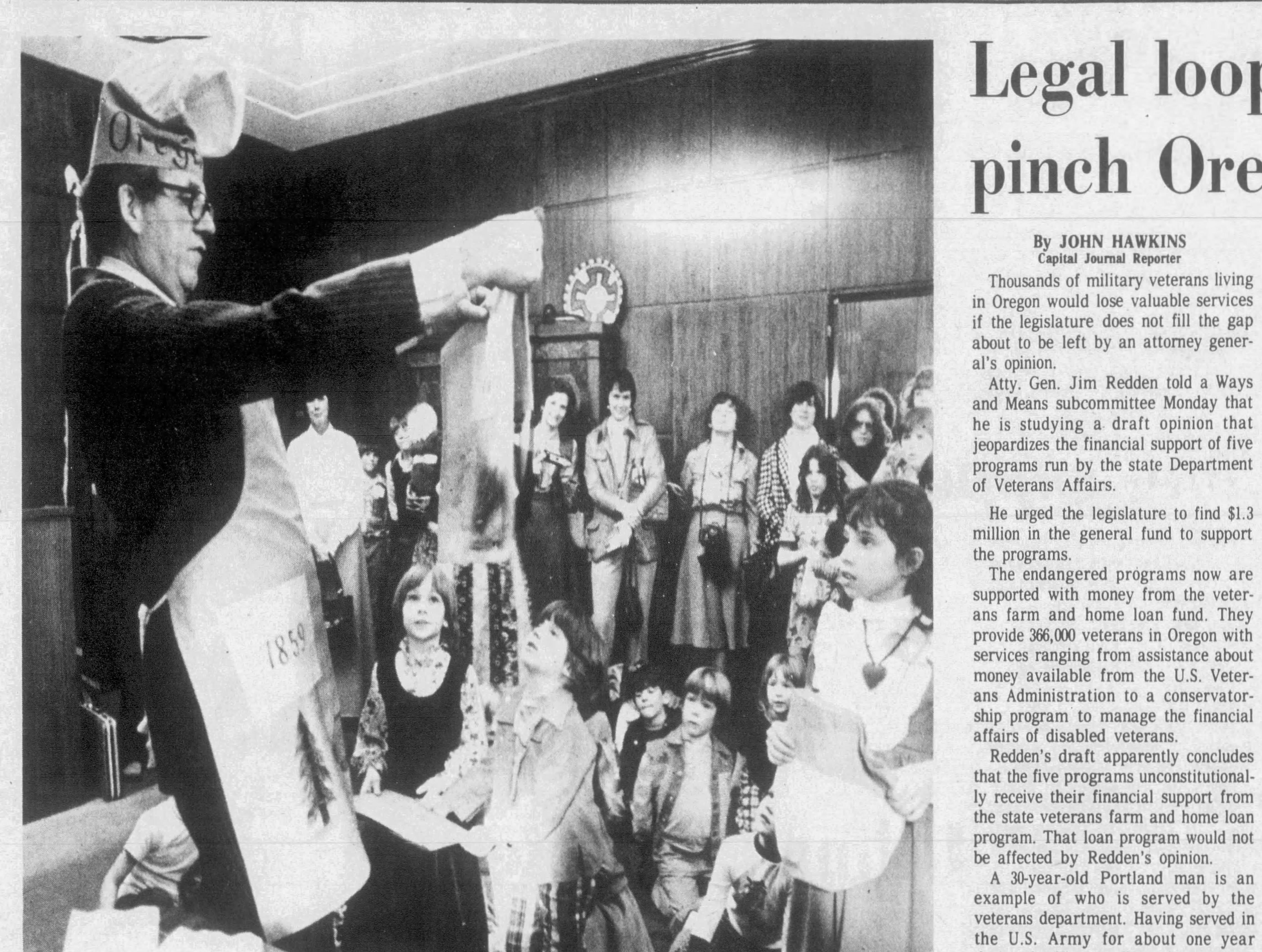 Gov. Bob Straub celebrate Oregon's 118th birthday with school children in these photographs published Feb. 15, 1977 in the Capital Journal.
