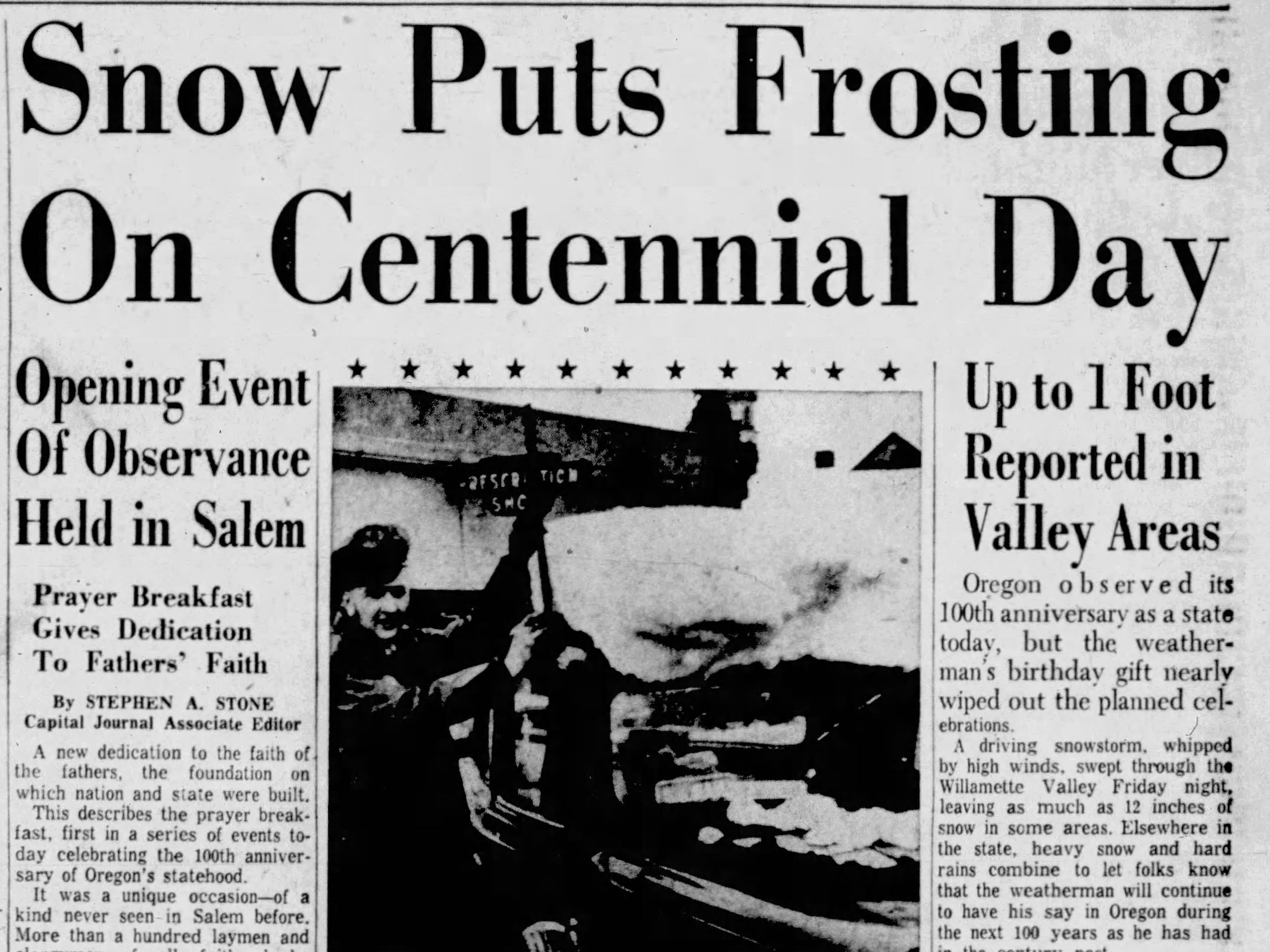 A section of the Capitol Journal frontpage from Feb. 14, 1959, the day of Oregon's centennial.