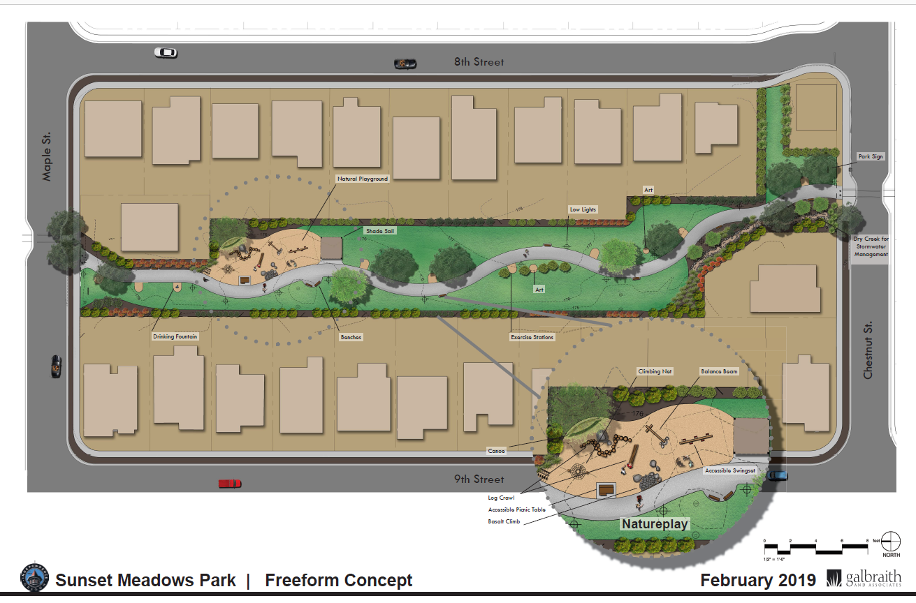 The 'freeform' concept for Sunset Meadows Park in Independence.