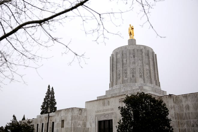 The Oregon State Capitol on a rainy day in Salem, Thursday, Feb. 14, 2019.