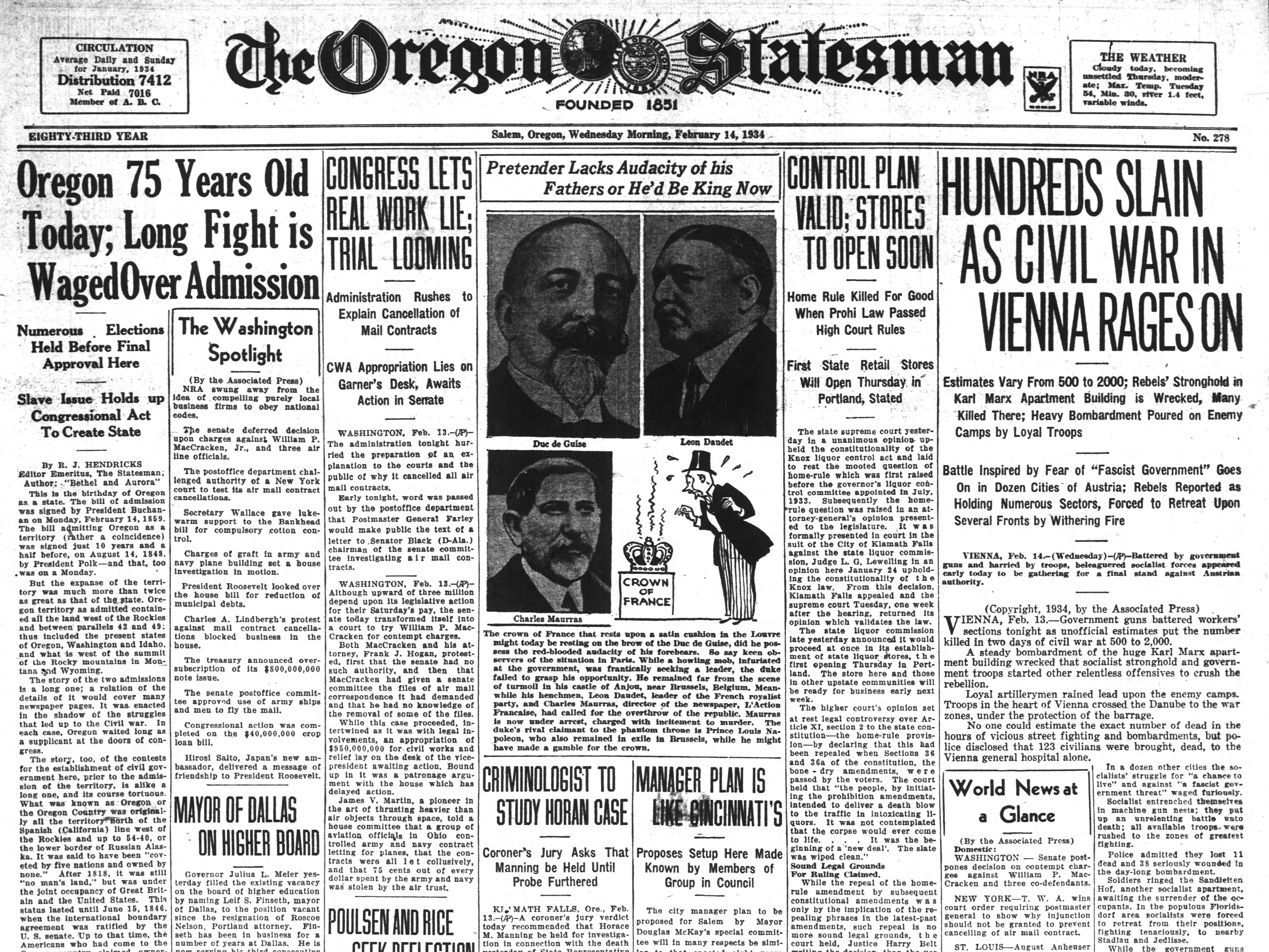 The front page of the Oregon Statesman from Feb. 14, 1934.