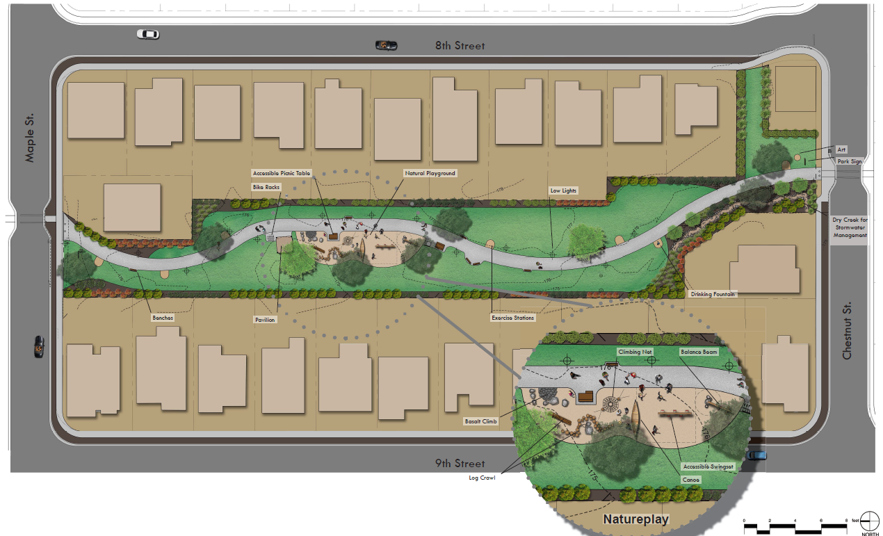 One of two concepts presented by Independence for the design of Sunset Meadows Park.