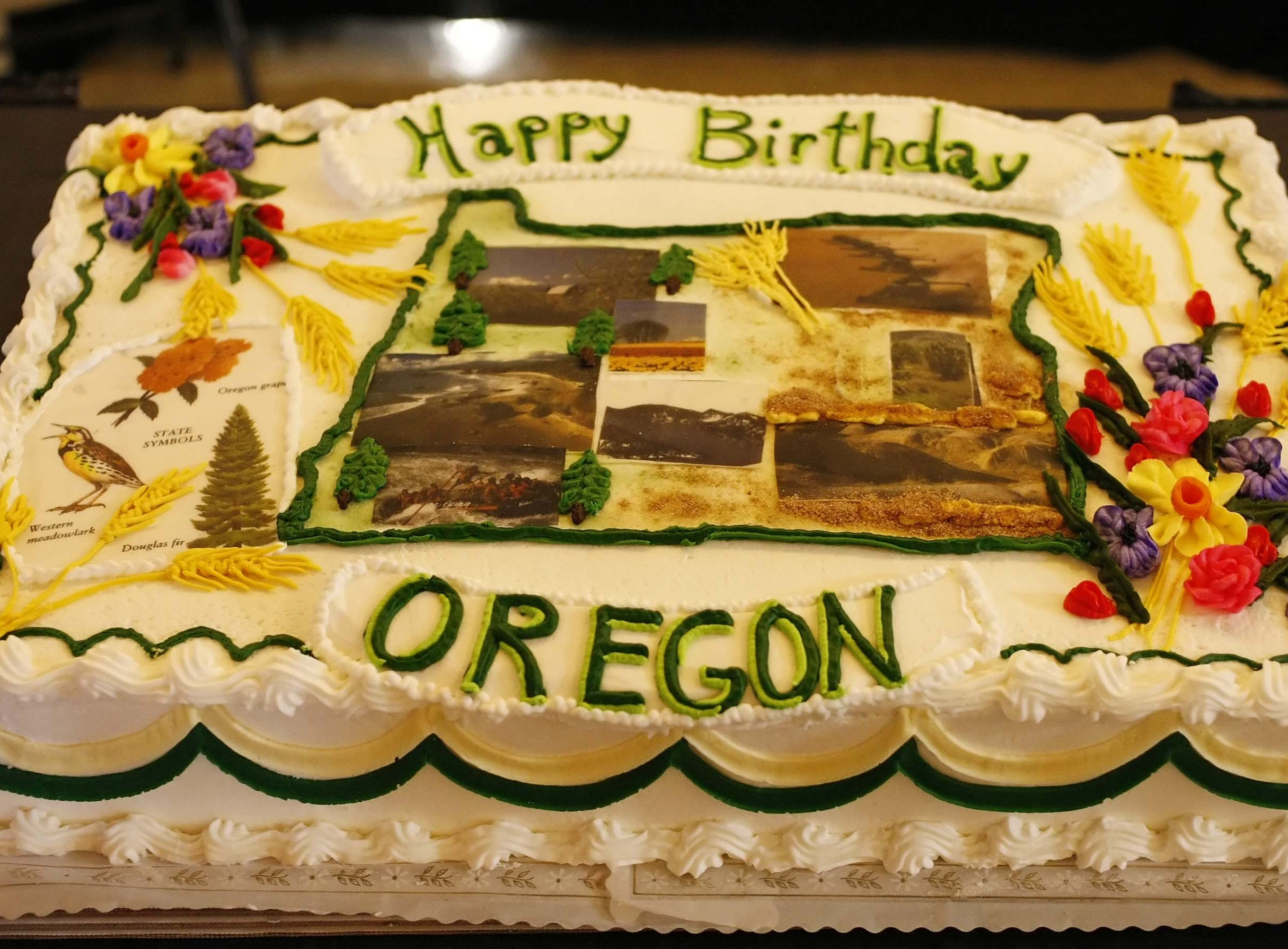 The cake made in honor of Oregon's 153 birthday at the Capitol on Feb. 14, 2012.