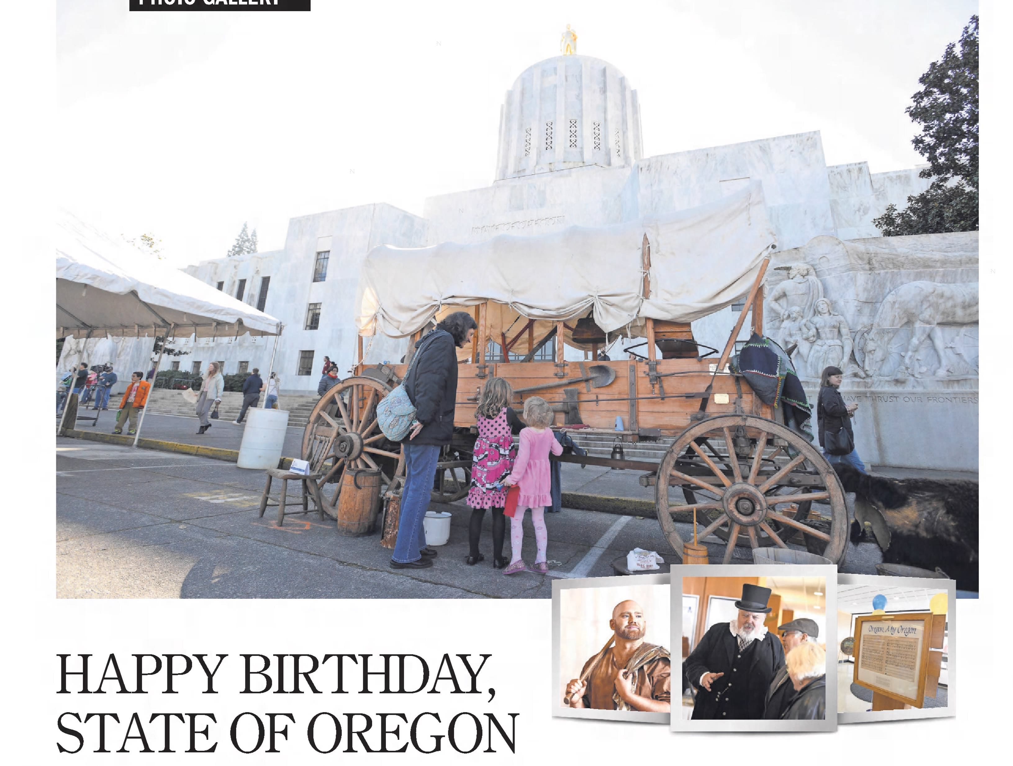A clip from the Feb. 16, 2015 Statesman Journal after Oregon's 156th birthday celebration.