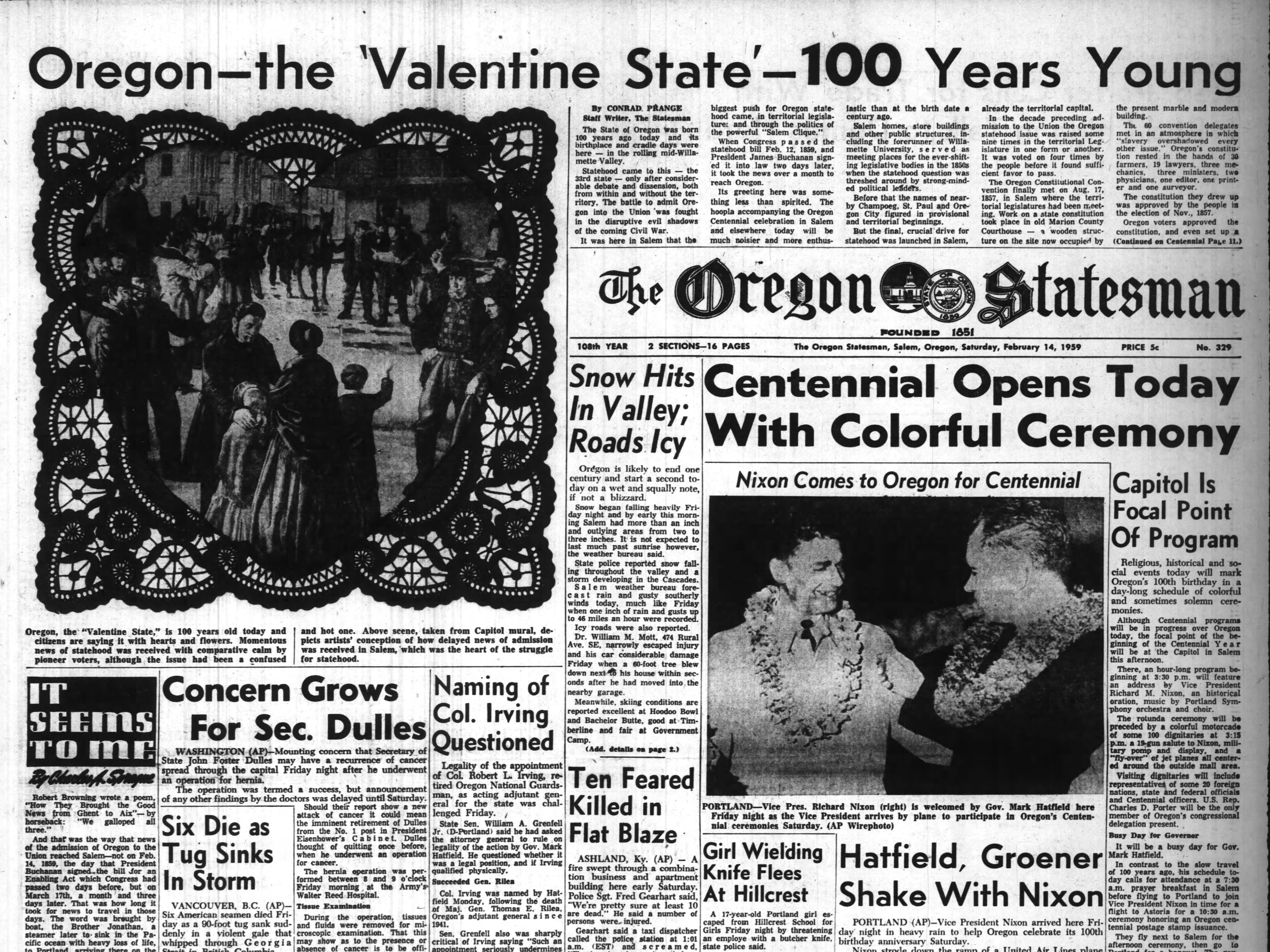 The Oregon Statesman front page from Feb. 14, 1959, the day of Oregon's centennial.