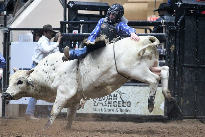 Tyler Ray Taylor competes in bull riding during the 9th performance of the 87th San Angelo Stock Show & Rodeo at Foster Communications Coliseum, Wednesday, Feb. 13, 2019.
