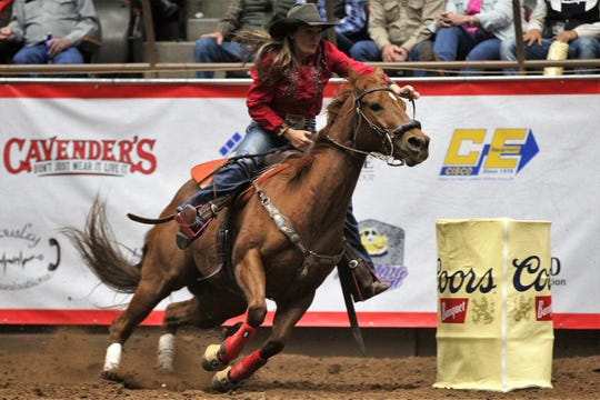 Stephanie Fryar competes in barrel racing during the 9th performance of the 87th San Angelo Stock Show & Rodeo at Foster Communications Coliseum, Wednesday, Feb. 13, 2019.