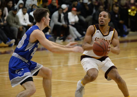 Salisbury University's Mike Ward looks to pass against Christopher Newport on Wednesday, Feb. 14, 2019.