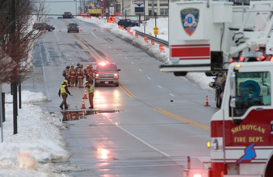 According to the Sheboygan Police Department, Wisconsin Public Service is correcting a gas leak on Pennsylvania Avenue by Commerce Street, Thursday, February 14, 2019, in Sheboygan, Wis. Police said that 300 homes lost gas service from the outage that is expected to last until 11 p.m.