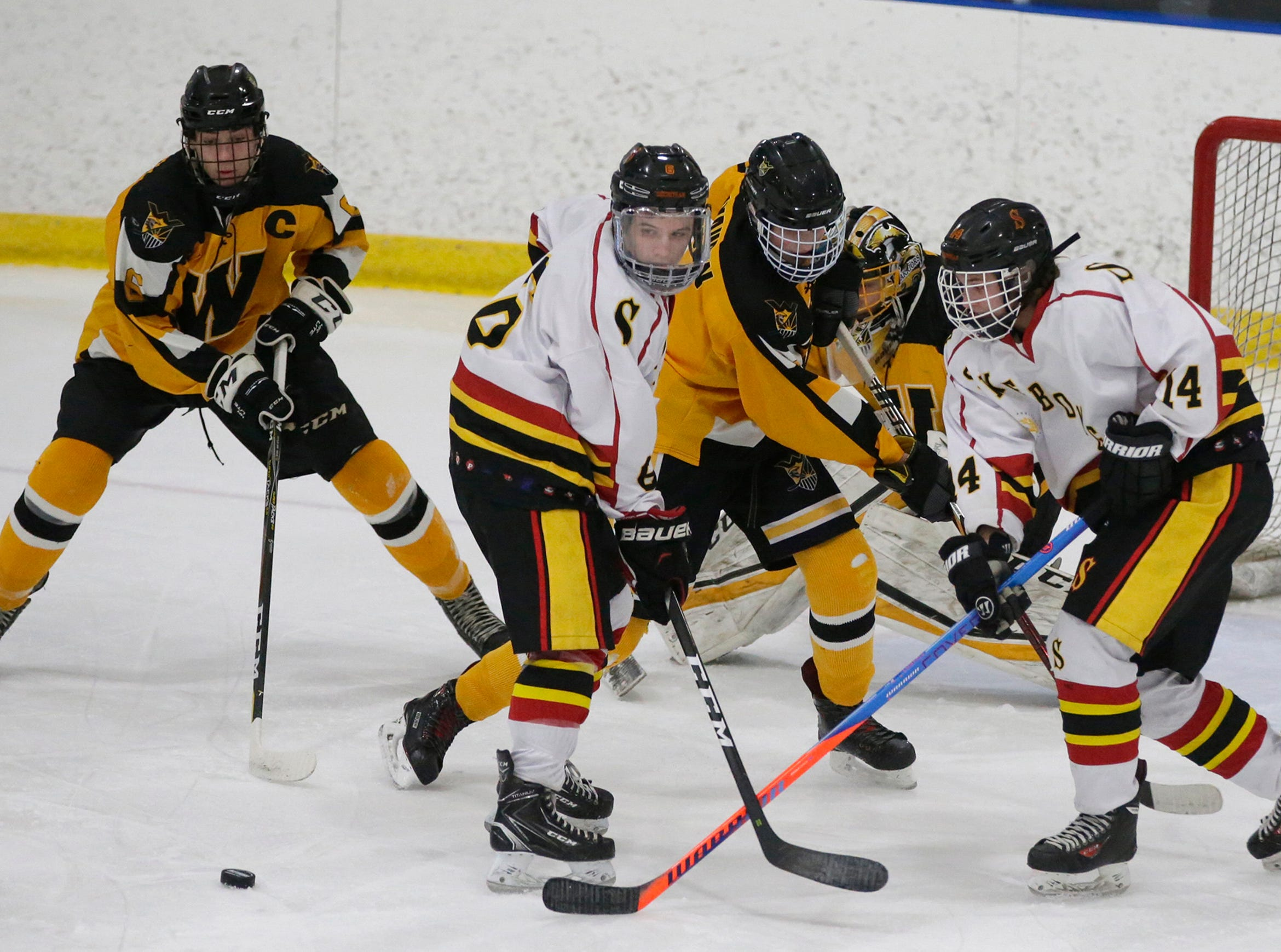 The puck was the center of attraction during the Waupun at Sheboygan Red Raiders games, Wednesday, February 13, 2019, in Sheboygan, Wis.