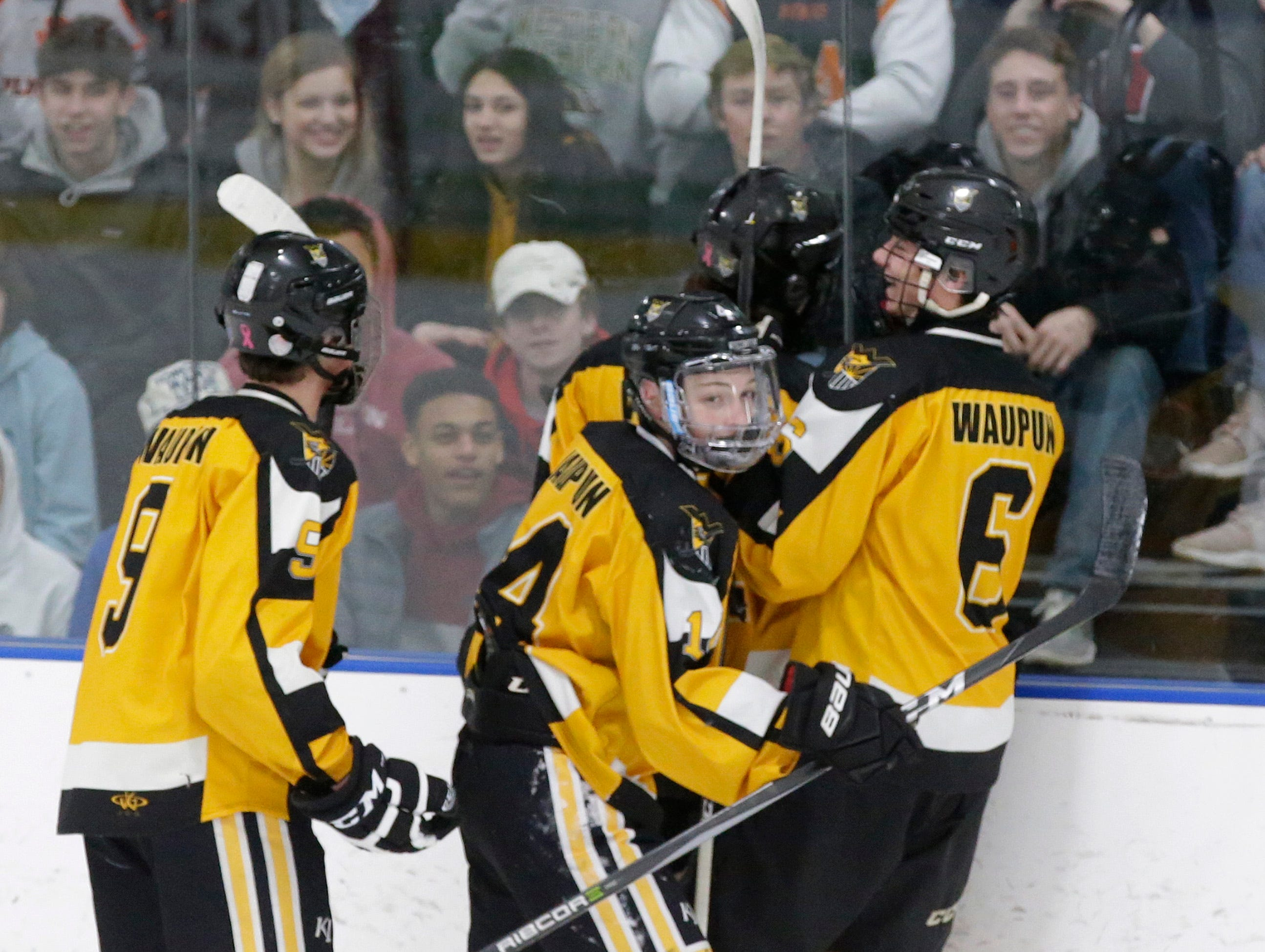 Waupun celebrates a goal against Sheboygan Red Raiders, Wednesday, February 13, 2019, in Sheboygan, Wis.
