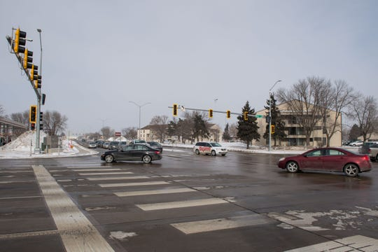 49th Street and Louise Avenue intersection is shown, Thursday, Feb. 14, 2019 in Sioux Falls, S.D.