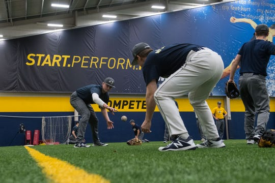 Augustana baseball team practices at the Sanford Fieldhouse in Sioux Falls, S.D., Wednesday, Feb. 13, 2019.