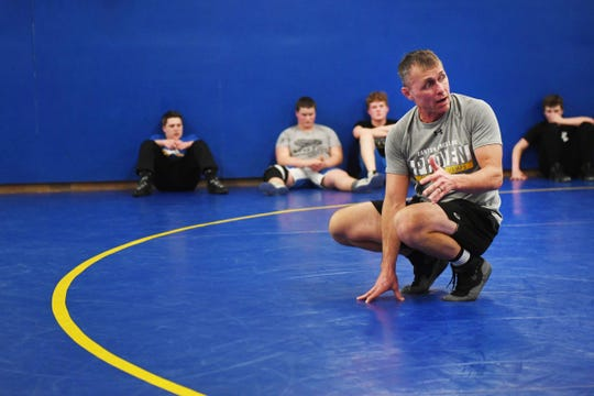 Canton's co-head coach Jeremy Ask during wrestling practice Wednesday, Feb. 13, at Canton High School.