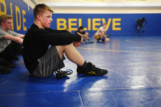 Canton's Scott Peterson during wrestling practice Wednesday, Feb. 13, at Canton High School.