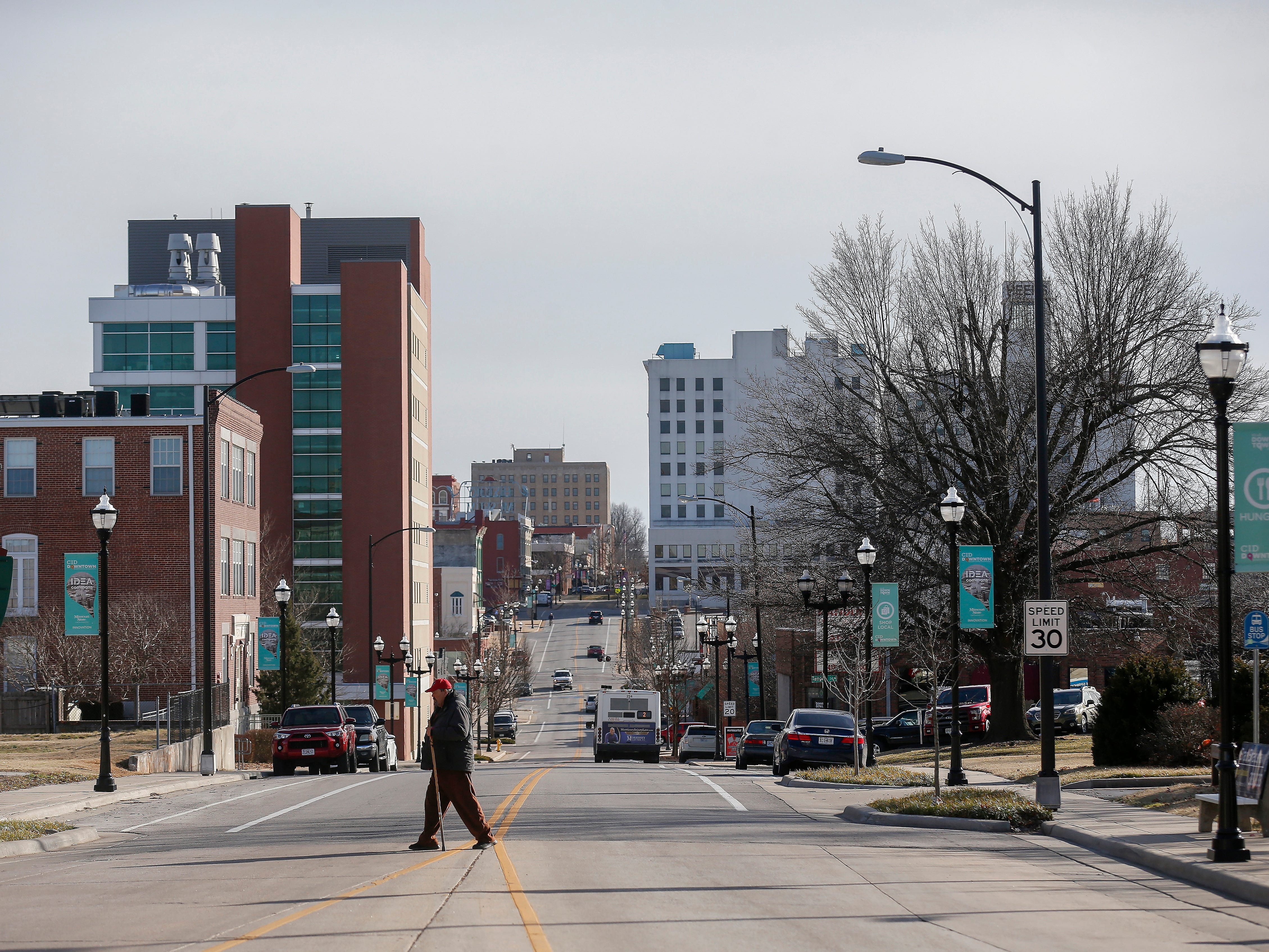 A view down Boonville Avenue toward Park Central Square on Thursday, Feb. 14, 2019. Temperatures were in the low 60s on Thursday.