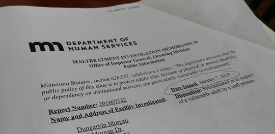 The Minnesota Department of Human Services substantiated a complaint of neglect when a staff person sent messages about drug use to a vulnerable adult in a Foley facility.