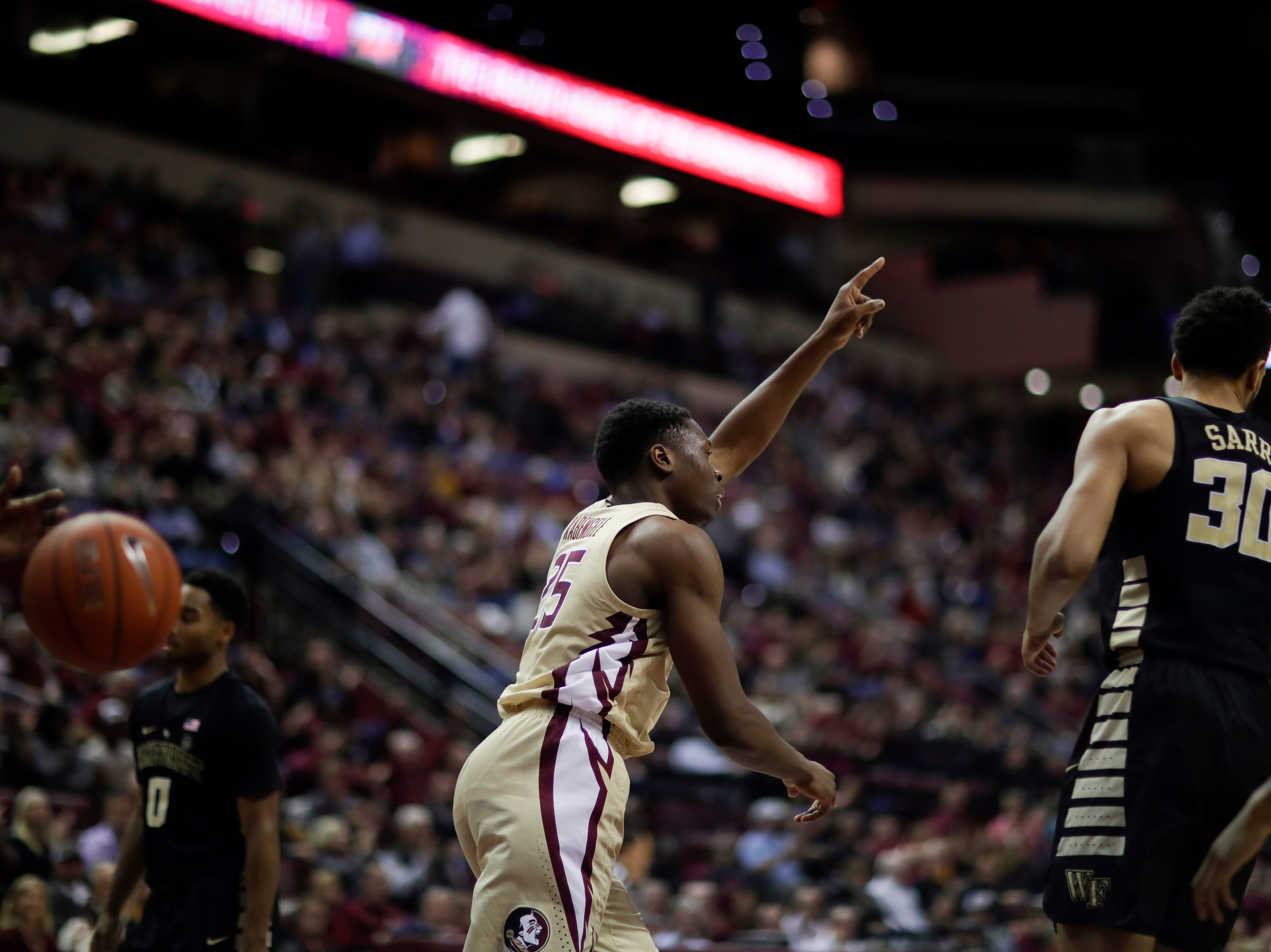 Florida State Seminoles forward Mfiondu Kabengele (25) celebrates after he scores during a game between FSU and Wake Forest at the Donald L. Tucker Civic Center Wednesday, Feb. 13, 2019.