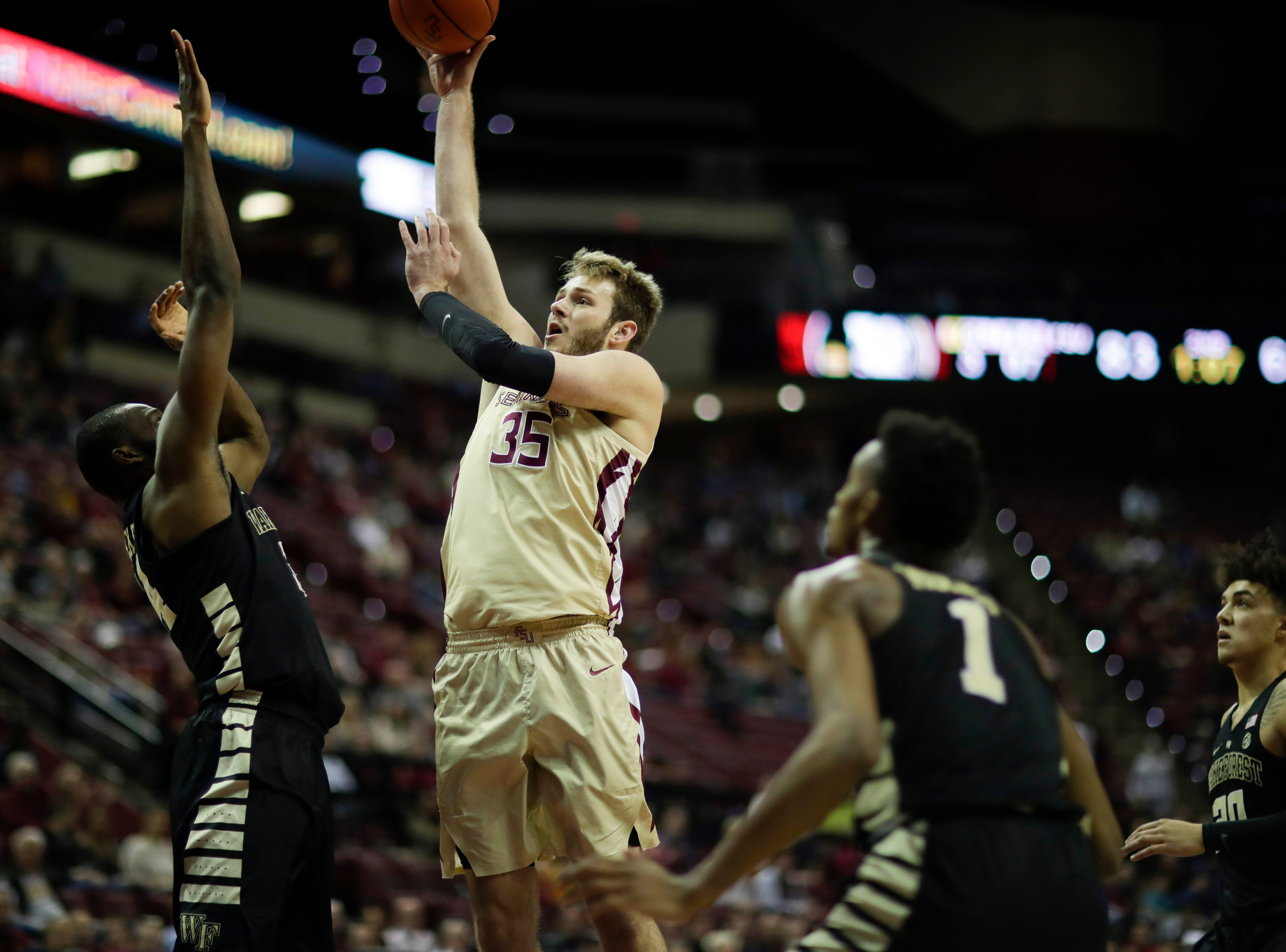 Almost immediately after coming off the bench at the end of the second half, Florida State Seminoles forward Harrison Prieto (35) puts in a shot during a game between FSU and Wake Forest at the Donald L. Tucker Civic Center Wednesday, Feb. 13, 2019.