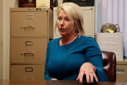 Blountstown City Manager Traci Hall, talks about the financial strain the damage caused by Hurricane Michael in Oct. 2018, has put on the community, Wednesday Feb. 13, 2019.