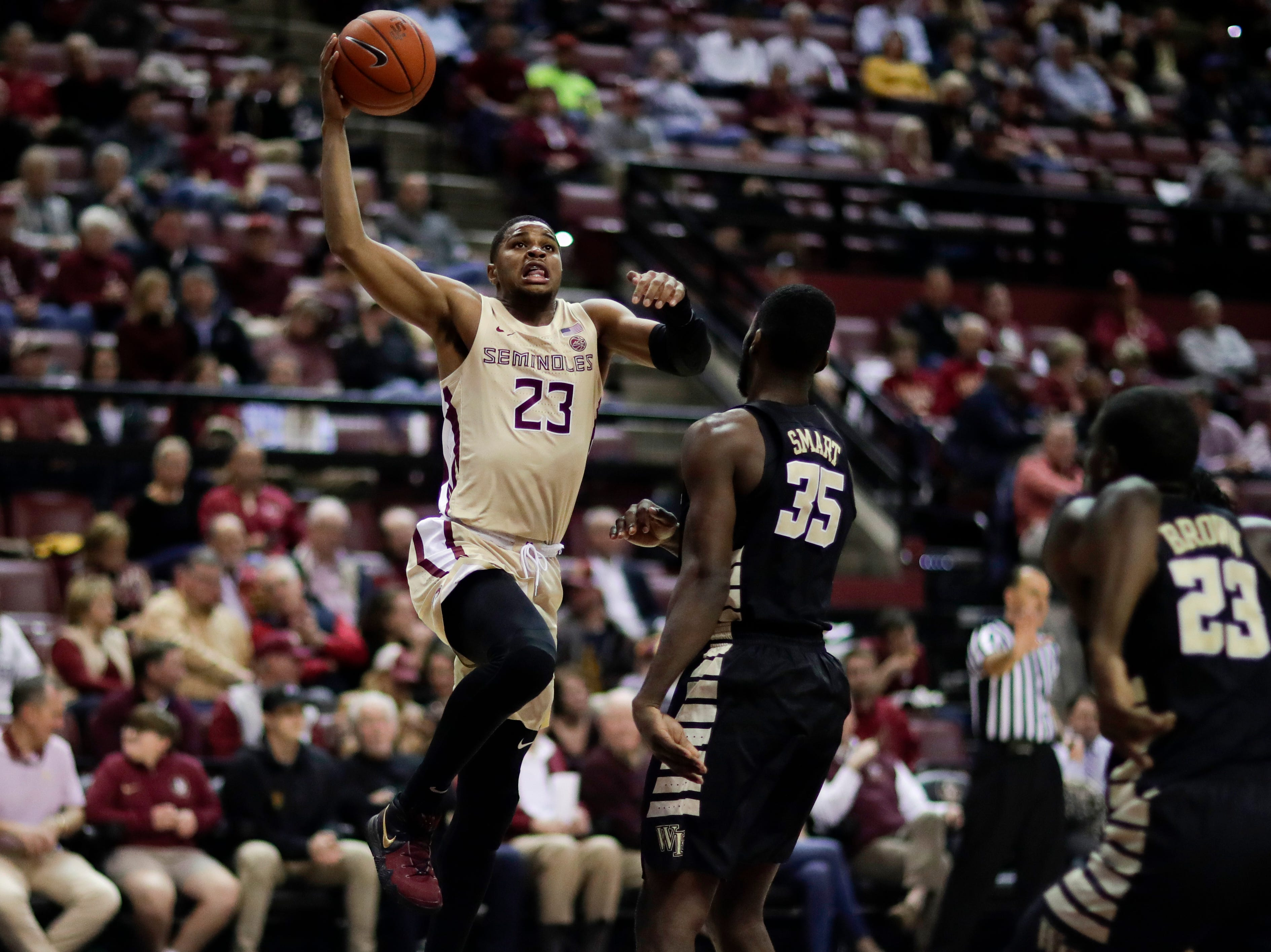 Florida State Seminoles guard M.J. Walker (23) goes up for a shot during a game between FSU and Wake Forest at the Donald L. Tucker Civic Center Wednesday, Feb. 13, 2019.