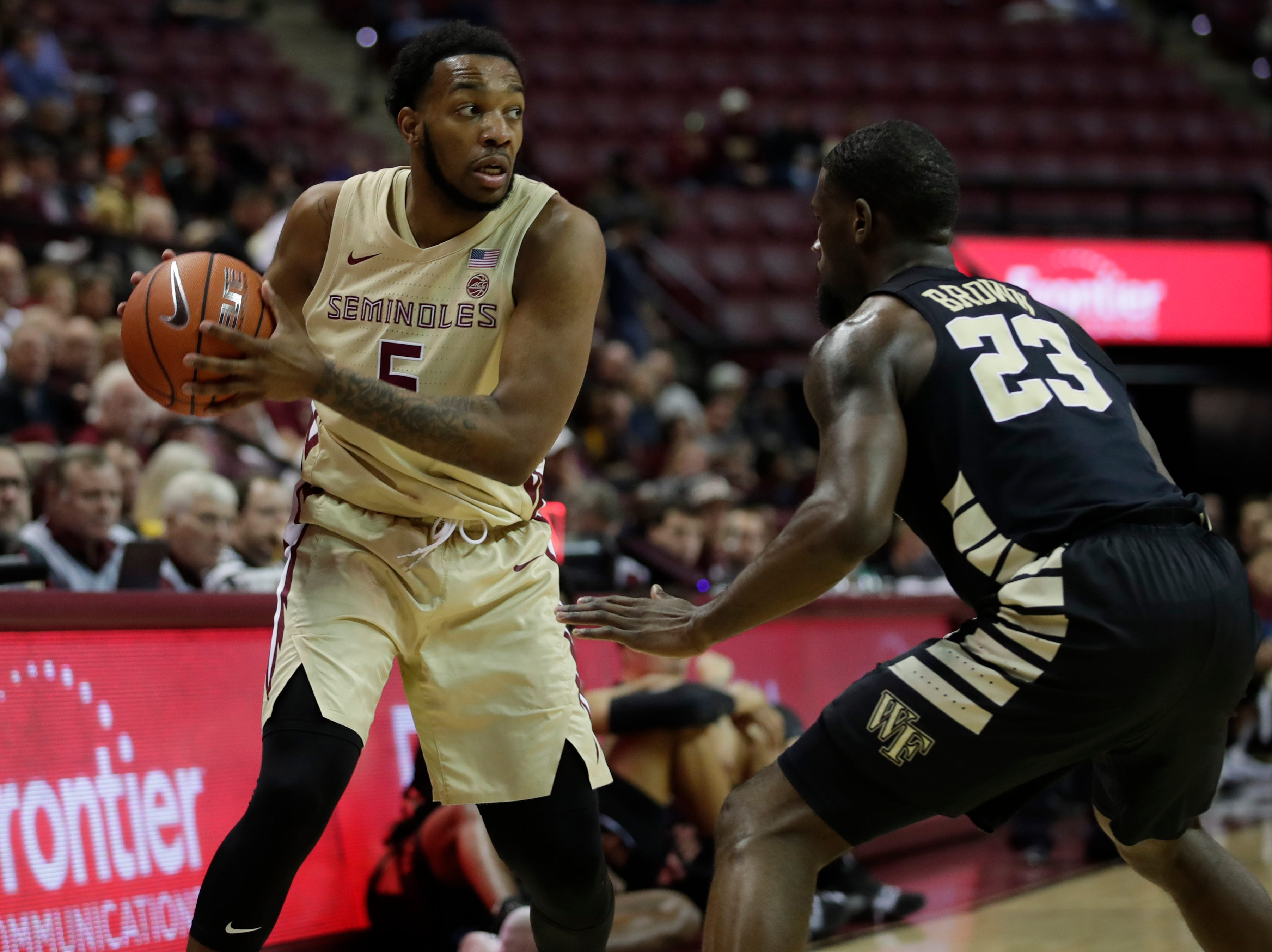 Florida State Seminoles guard PJ Savoy (5) looks for an opening during a game between FSU and Wake Forest at the Donald L. Tucker Civic Center Wednesday, Feb. 13, 2019.