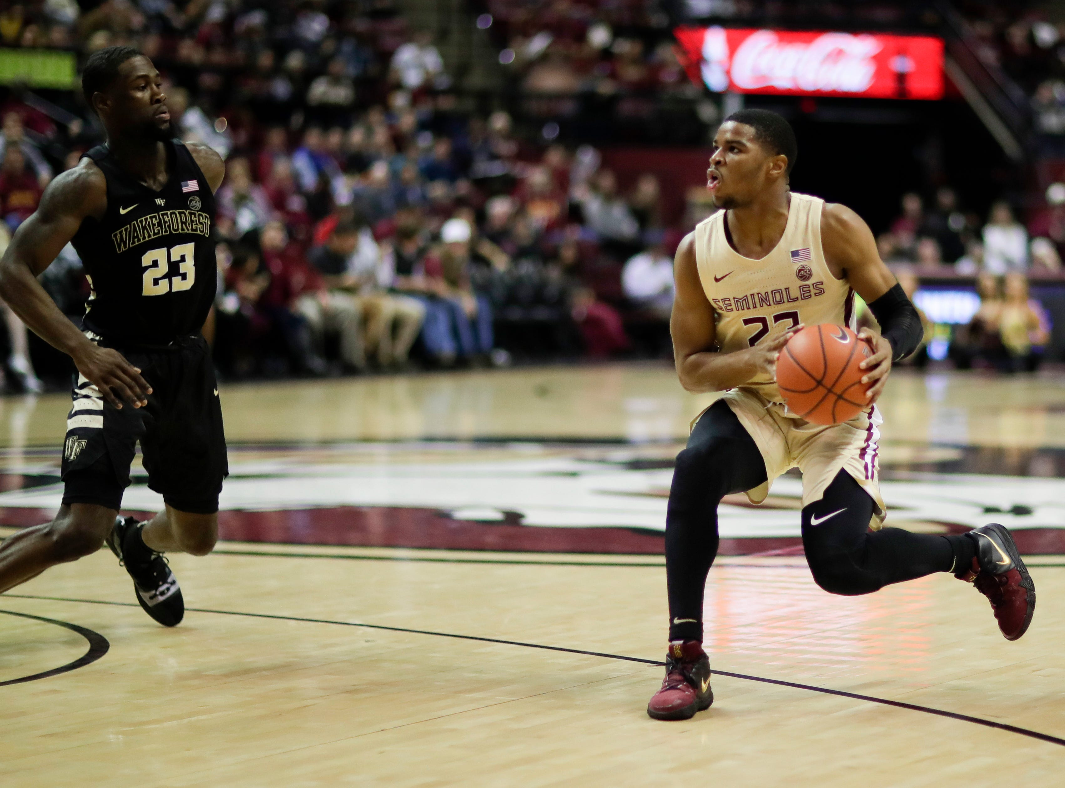 Florida State Seminoles guard M.J. Walker (23) jump stops during a game between FSU and Wake Forest at the Donald L. Tucker Civic Center Wednesday, Feb. 13, 2019.