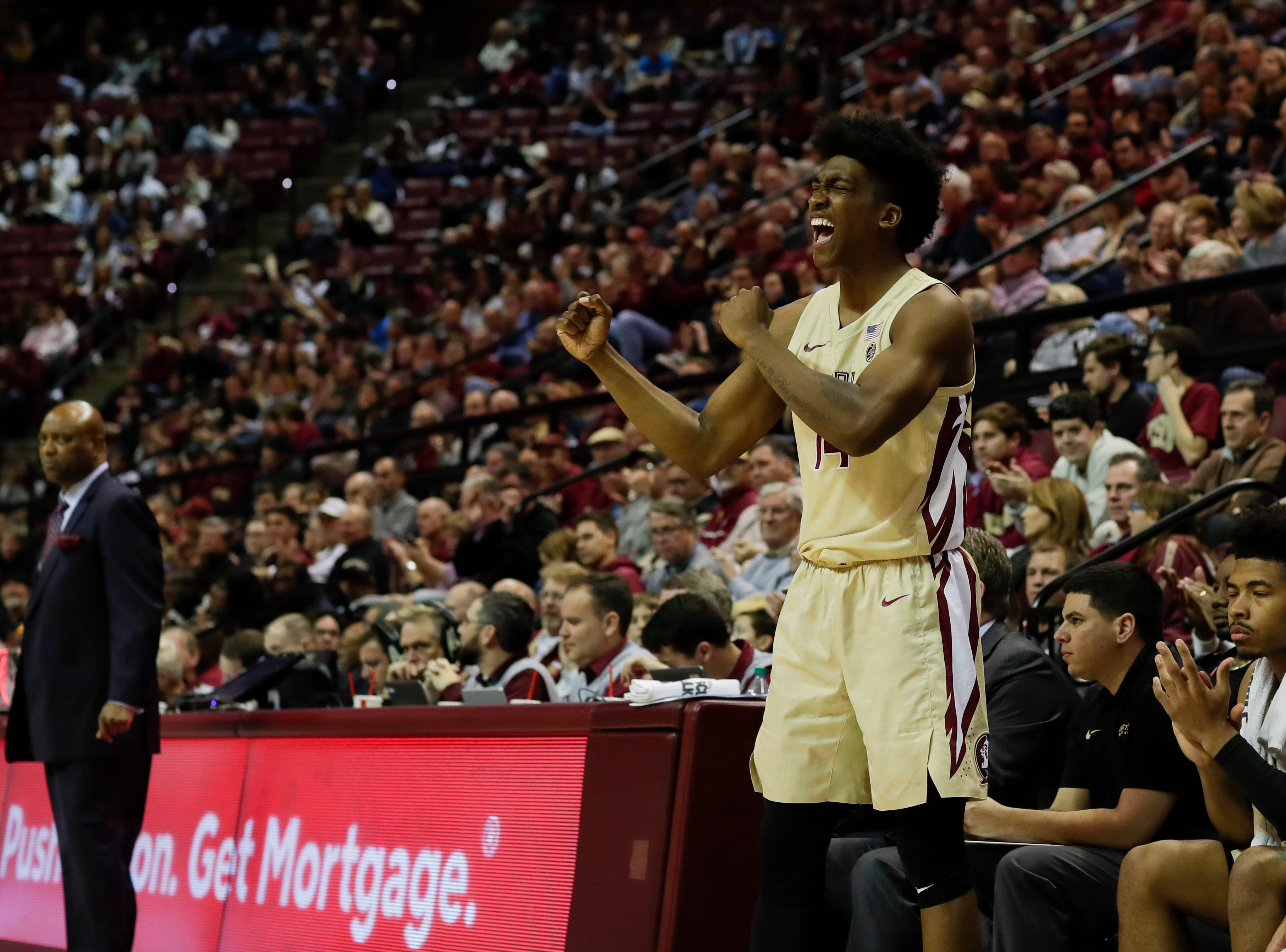 Florida State Seminoles guard Terance Mann (14) celebrates a Seminoles score during a game between FSU and Wake Forest at the Donald L. Tucker Civic Center Wednesday, Feb. 13, 2019.