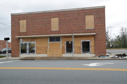 Windows have been replaced on some buildings in downtown Blountstown after Hurricane Michael hit the community in October.