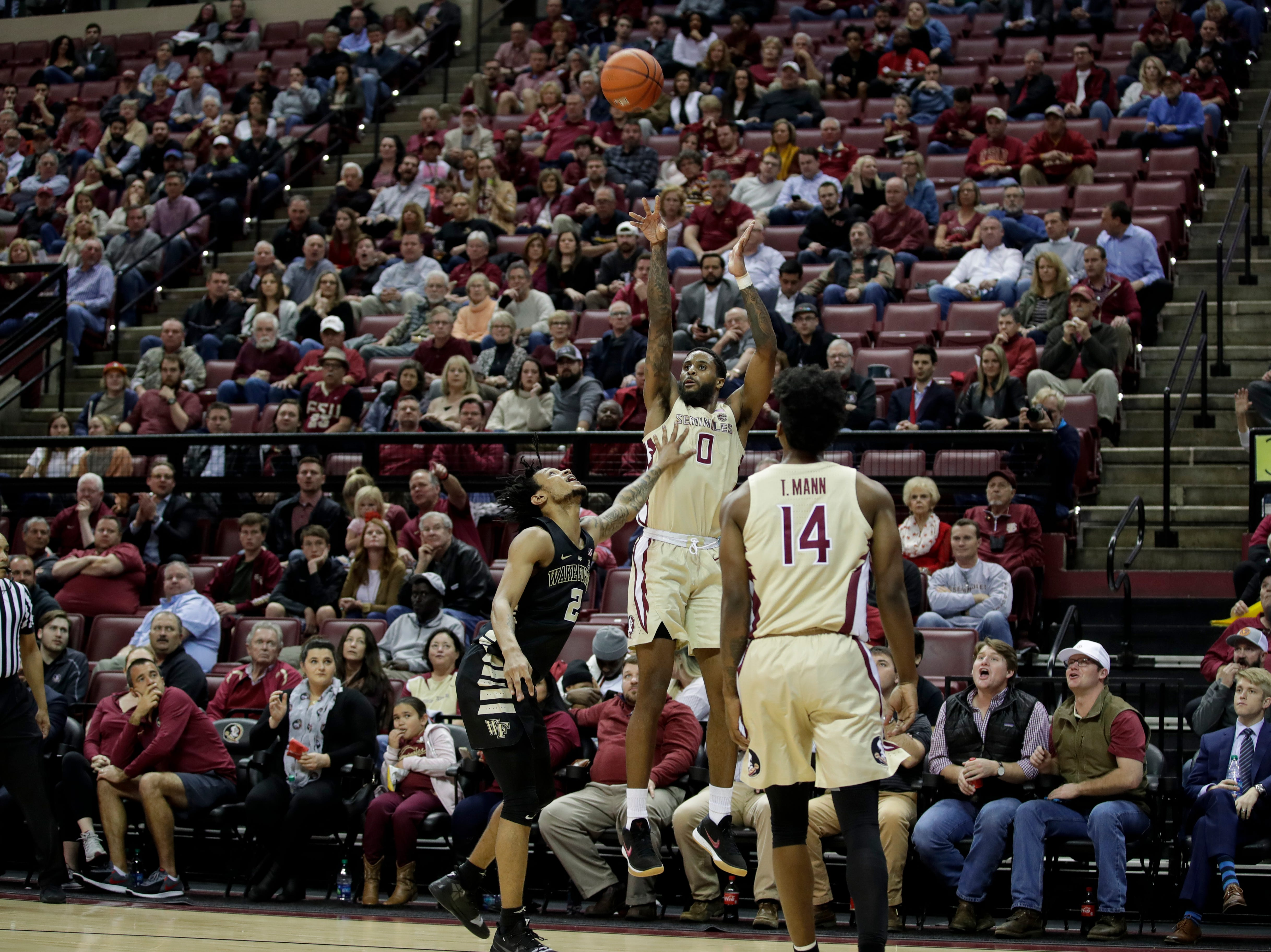 Florida State Seminoles forward Phil Cofer (0) shoots a three during a game between FSU and Wake Forest at the Donald L. Tucker Civic Center Wednesday, Feb. 13, 2019.