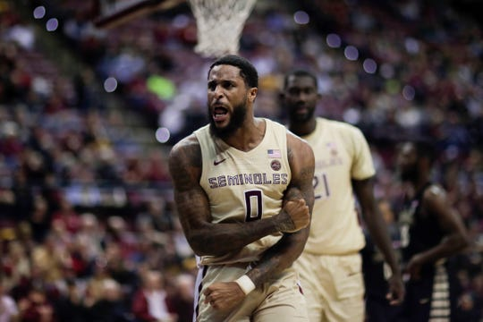 Florida State Seminoles forward Phil Cofer (0) celebrates a score during a game between FSU and Wake Forest at the Donald L. Tucker Civic Center Wednesday, Feb. 13, 2019.