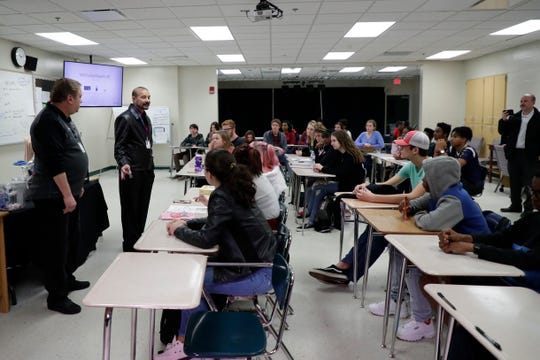 Leon County Schools Superintendent Rocky Hanna talks to a theater class at Lincoln High School about the importance of the moment of silence at 10:17am, Thursday Feb. 14, 2019. The marks the one year anniversary of the Parkland shooting.