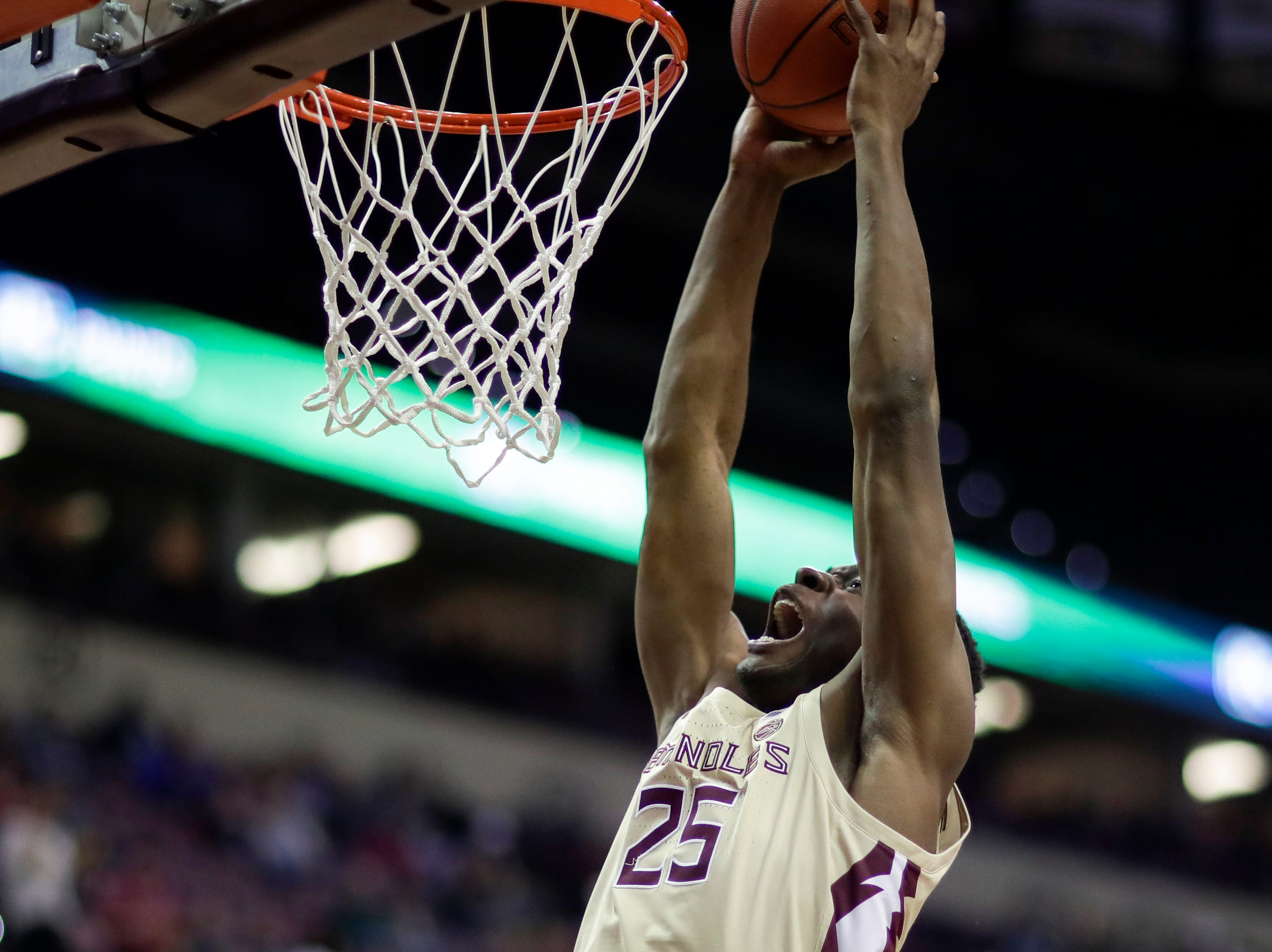 Florida State Seminoles forward Mfiondu Kabengele (25) puts up a dunk during a game between FSU and Wake Forest at the Donald L. Tucker Civic Center Wednesday, Feb. 13, 2019.