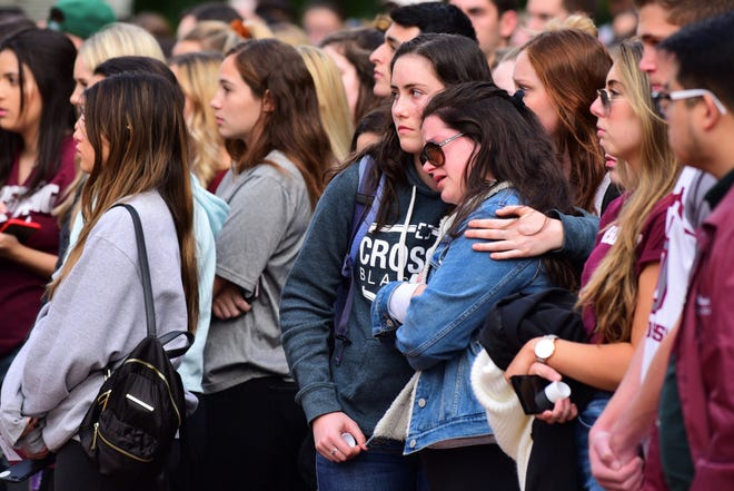 Florida State University students attended a vigil Thursday night at the Moore Auditorium Courtyard on the one year anniversary of the Marjorie Stoneman Douglas school shooting.