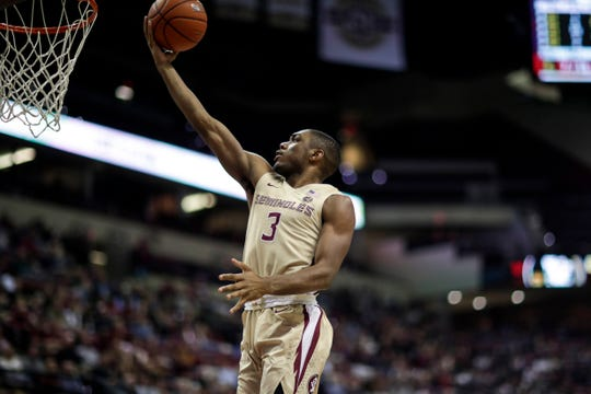 Florida State Seminoles guard Trent Forrest (3) rolls a shot off his fingers during a game between FSU and Wake Forest at the Donald L. Tucker Civic Center Wednesday, Feb. 13, 2019.
